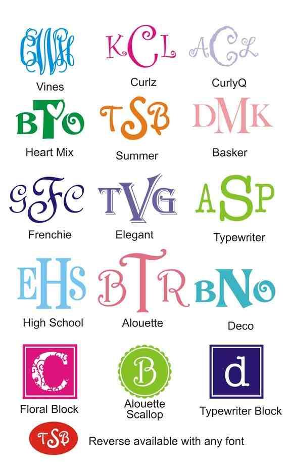 Monogram Fonts for Vinyl for Cars