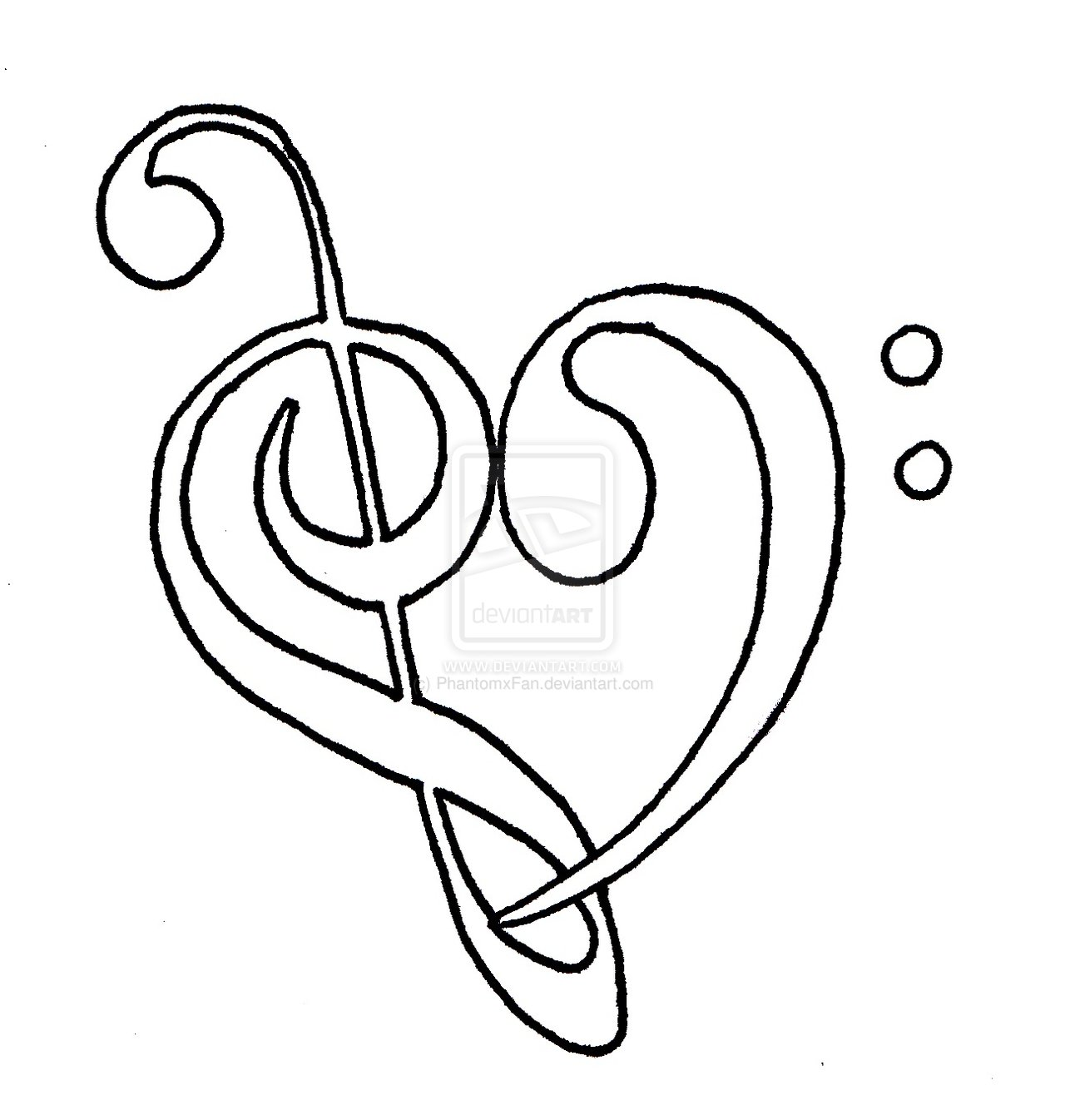 Heart Tattoo Line Drawing : Heart designs cool music images tattoo drawing