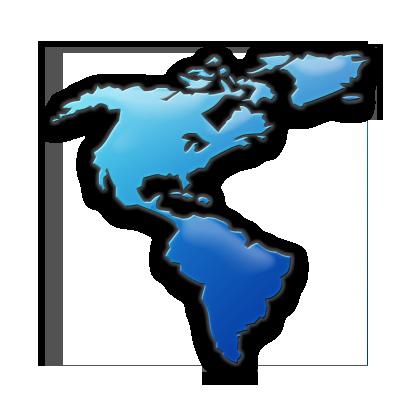 North America Map Icon Blue