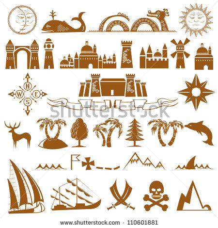 12 Old Map Icons Images - Old Pirate Map Symbols, Treasure ...
