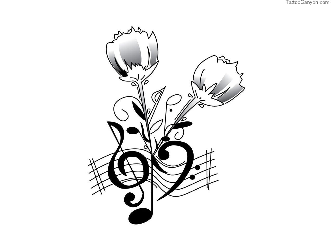 Roses and Music Note Tattoo Designs