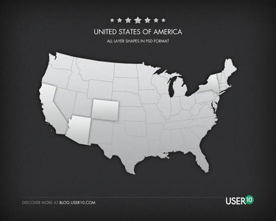 11 U.S.A. States PSD Images