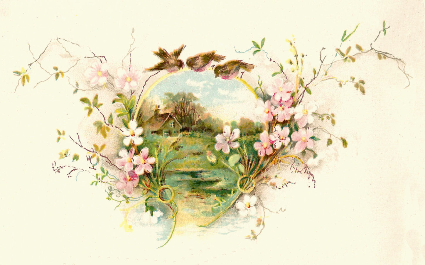 Vintage Birds and Flowers Clip Art