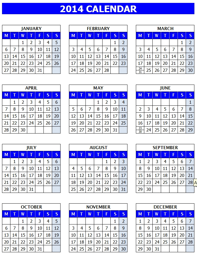 Full Year Calendar One Page : Full year calendar template images printable