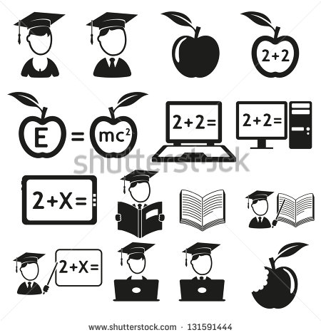Black and White Education Icon