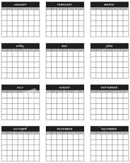 12 12 Month Blank Calendar Template Images - Blank 12 ...