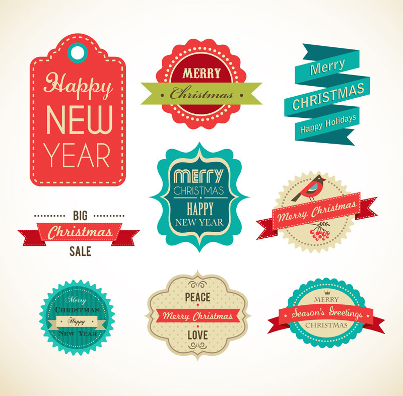Christmas Vintage Vector Labels