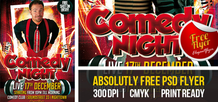 13 Psd Comedy Flyers Images - Comedy Show Flyer Template, Comedy