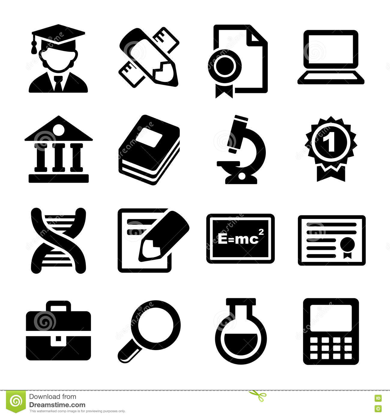 12 Education Icons Vector White Images