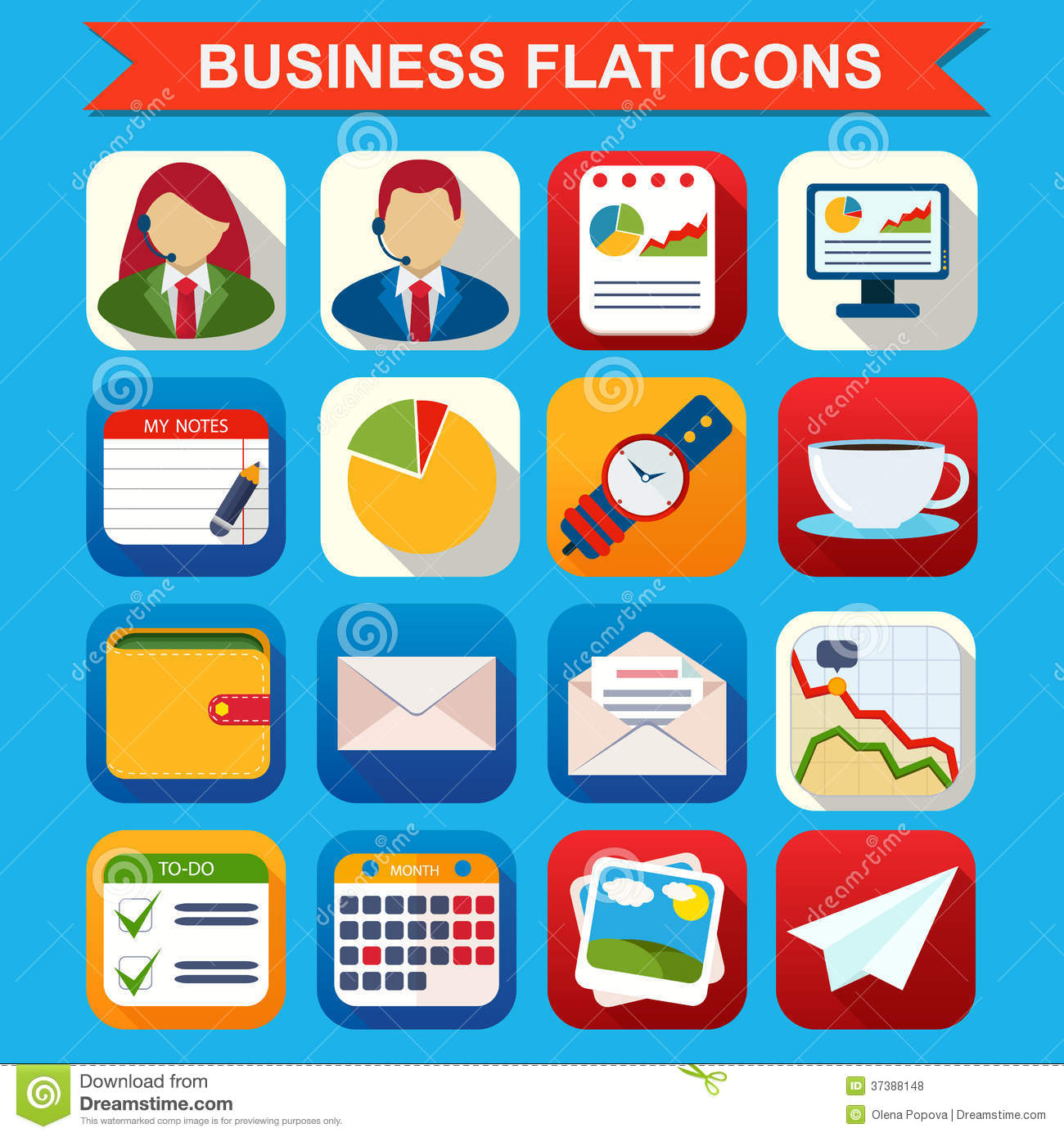 Flat Business Icons Vector Free