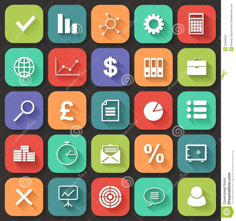 Flat Business Web Icons Free