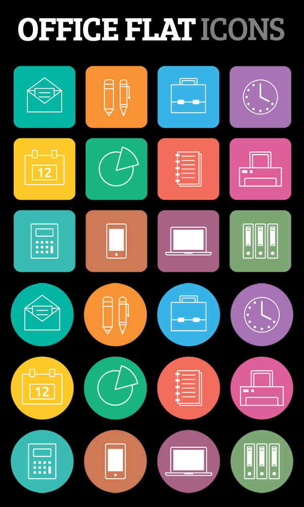 Flat Office Icons Free