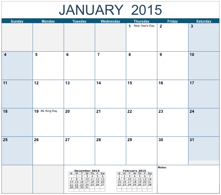 12 2015 Monthly Calendar Template Images