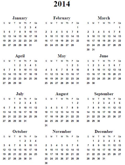 14 Full 2014 Year Calendar Template Images Printable 2014