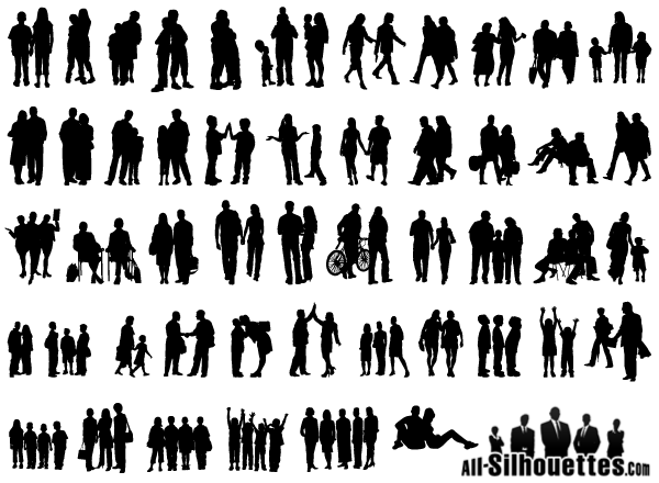 18 Group People Vector Silhouettes Images