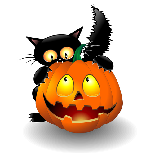 Halloween Pumpkins and Cats Cartoons