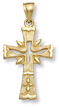 Holy Spirit Dove Cross Gold Pendant
