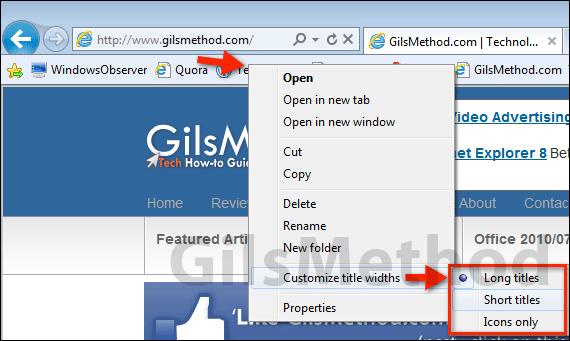 Internet Explorer Favorites Bar Icons