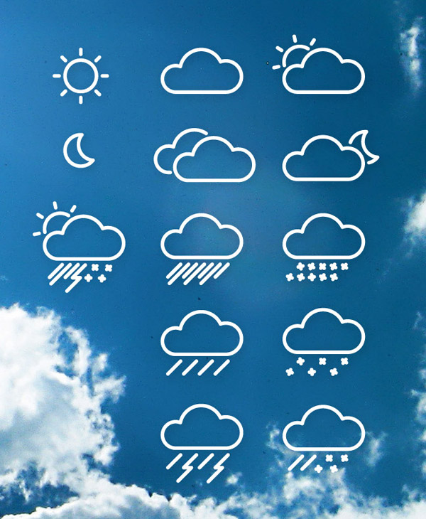 14 Vector Weather Line Icons Images