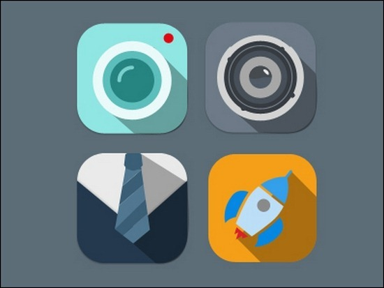 Mobile Flat Design Icons