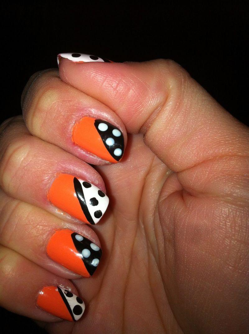 5 Orange Nail Art Designs Images