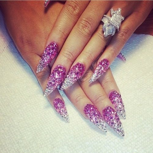 13 Stiletto Nail Designs With Rhinestones Images