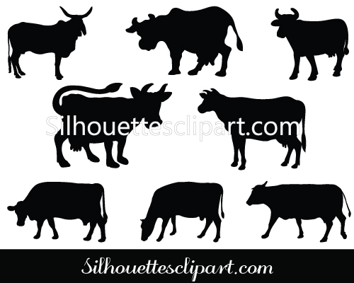 Vector Cow Silhouette Clip Art