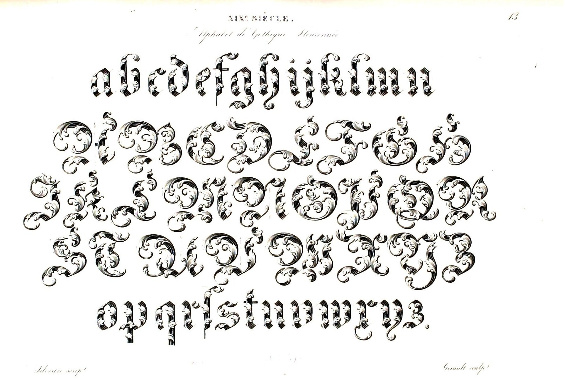 Vintage Leaf Font Alphabet