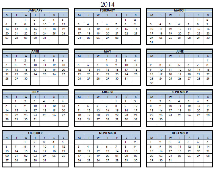 Yearly Calendar Template 2014 Images Template Design Free Download