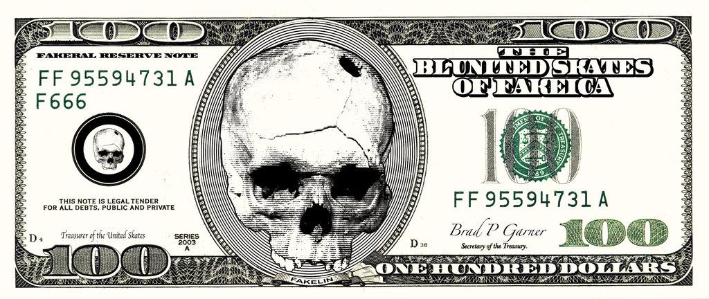100 Dollar Bill Skull