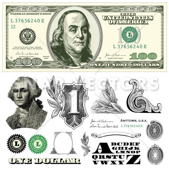 100 Dollar Bill Template Vector