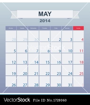 2014 Monthly Calendar Clip Art