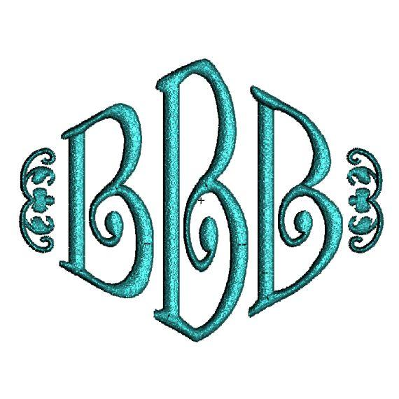 3 Letter Monogram Embroidery Fonts