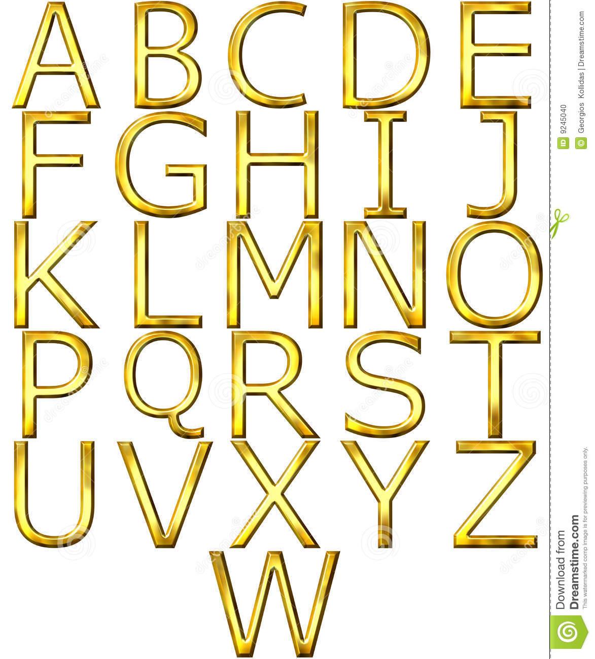 3D Gold Alphabet Letters