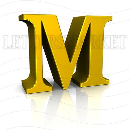 3D Gold Letter M