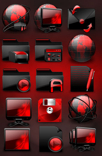 Black and Red Windows Icon Pack