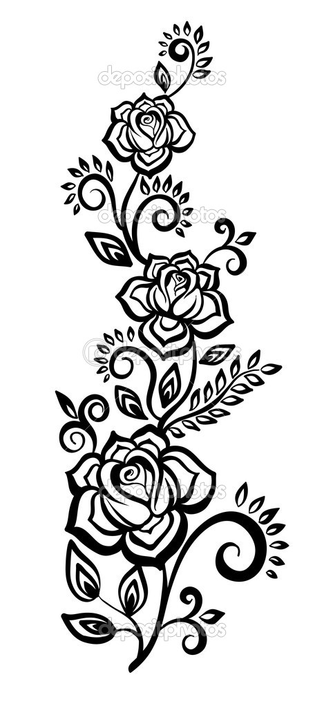 Black and White Flower Floral Design