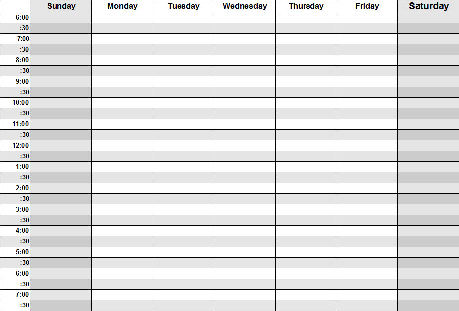 picture relating to Weekly Schedule Template Printable identify 16 7 days Blank Calendar Template Shots - Printable Blank
