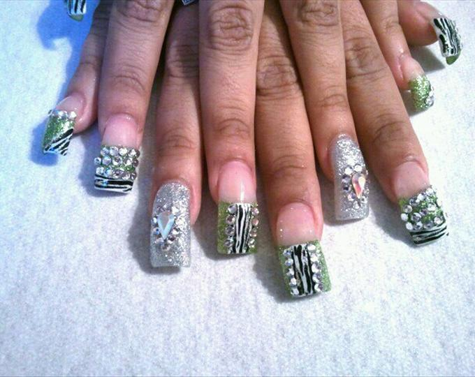 10 blinged out acrylic nail designs images blinged out acrylic blinged out nail designs prinsesfo Gallery
