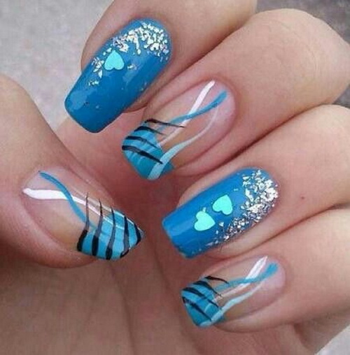 12 Blue French Nail Art Designs Images