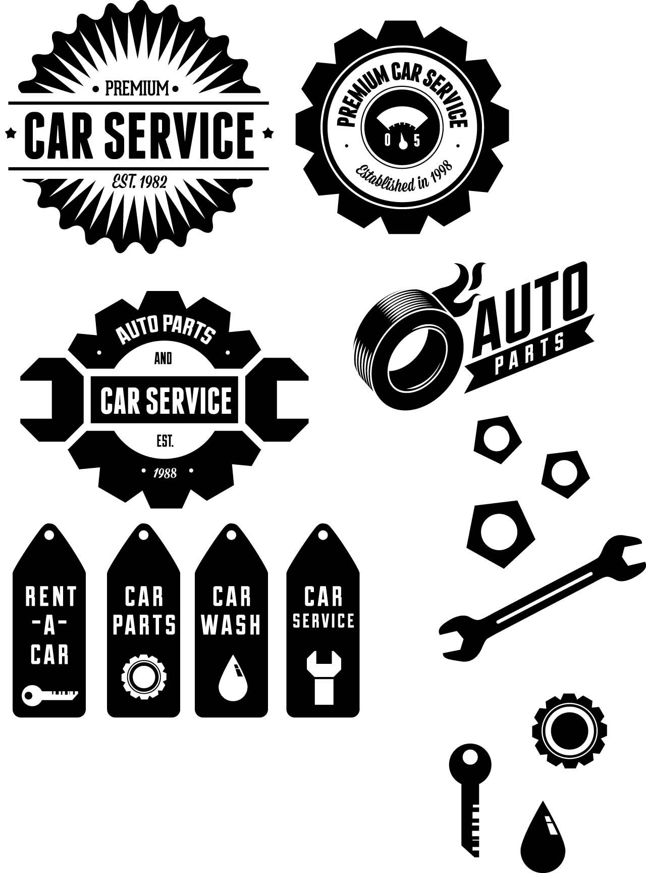 Car Retro Vintage Labels Set