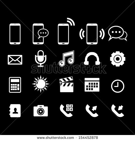 Cell Phone Icon Vector White