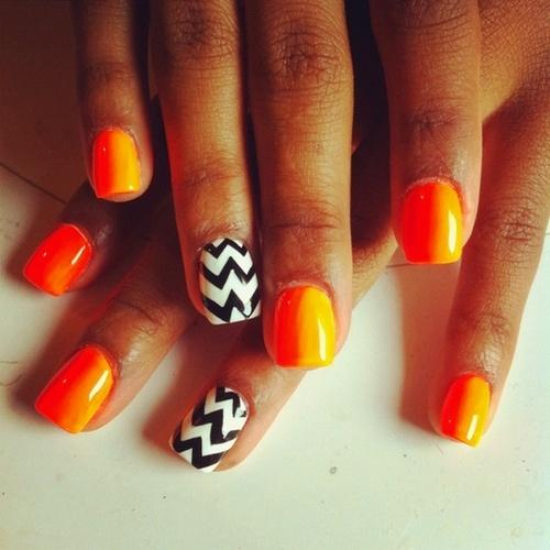 Chevron Black & Orange Halloween Nails