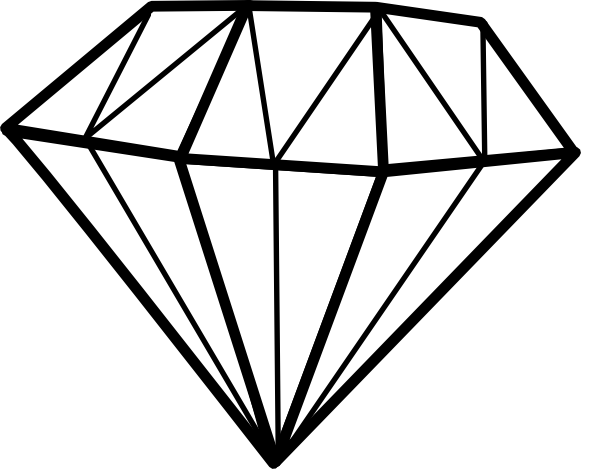 Diamond Clip Art Black and White
