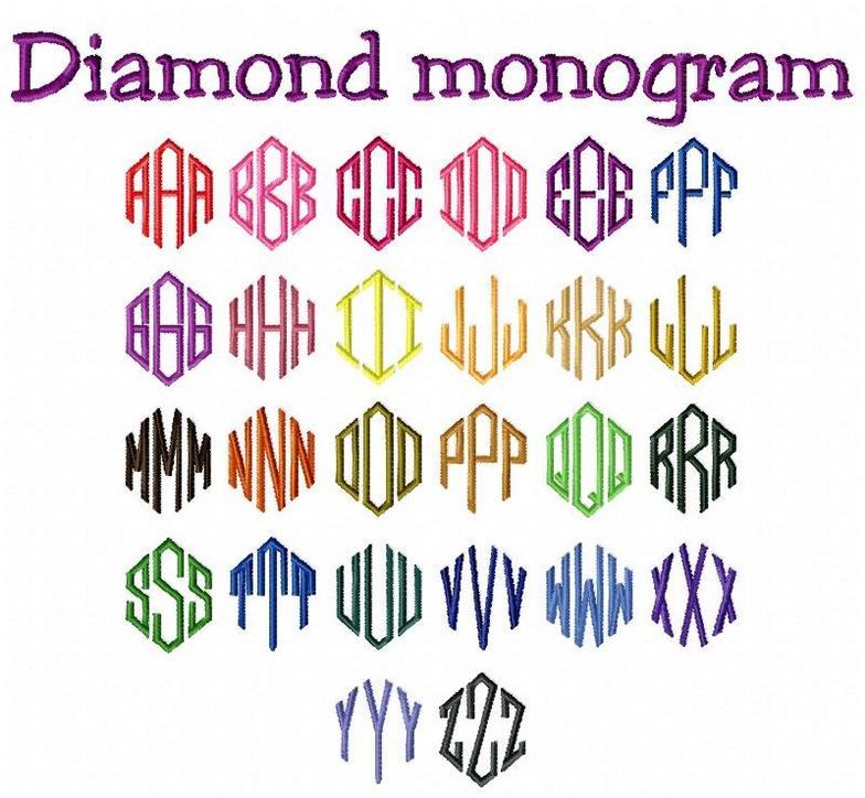 Diamond monogram font images machine