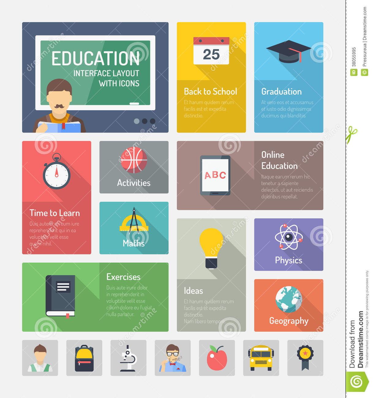 12 Flat Education Icons Navigation Images