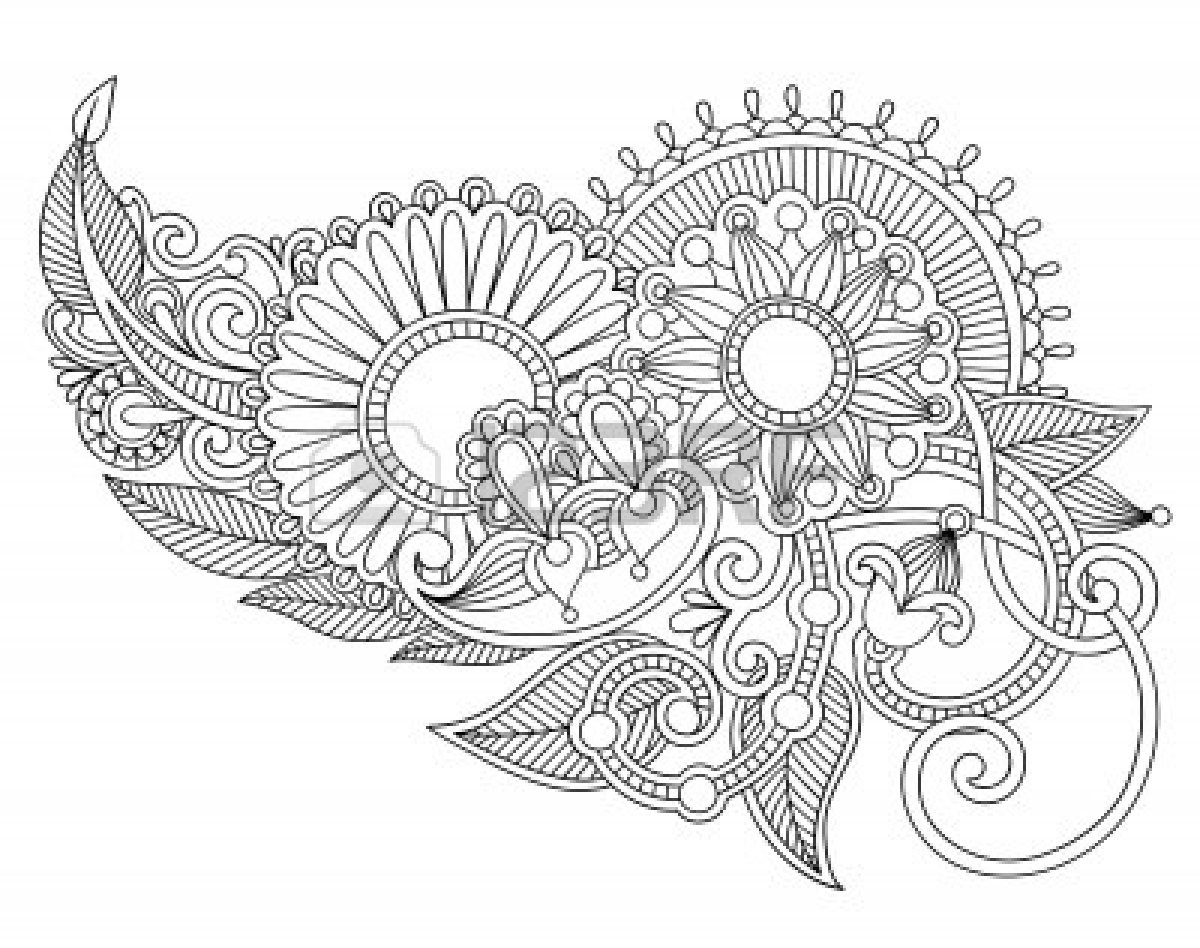 Flower Line Art Drawings Design