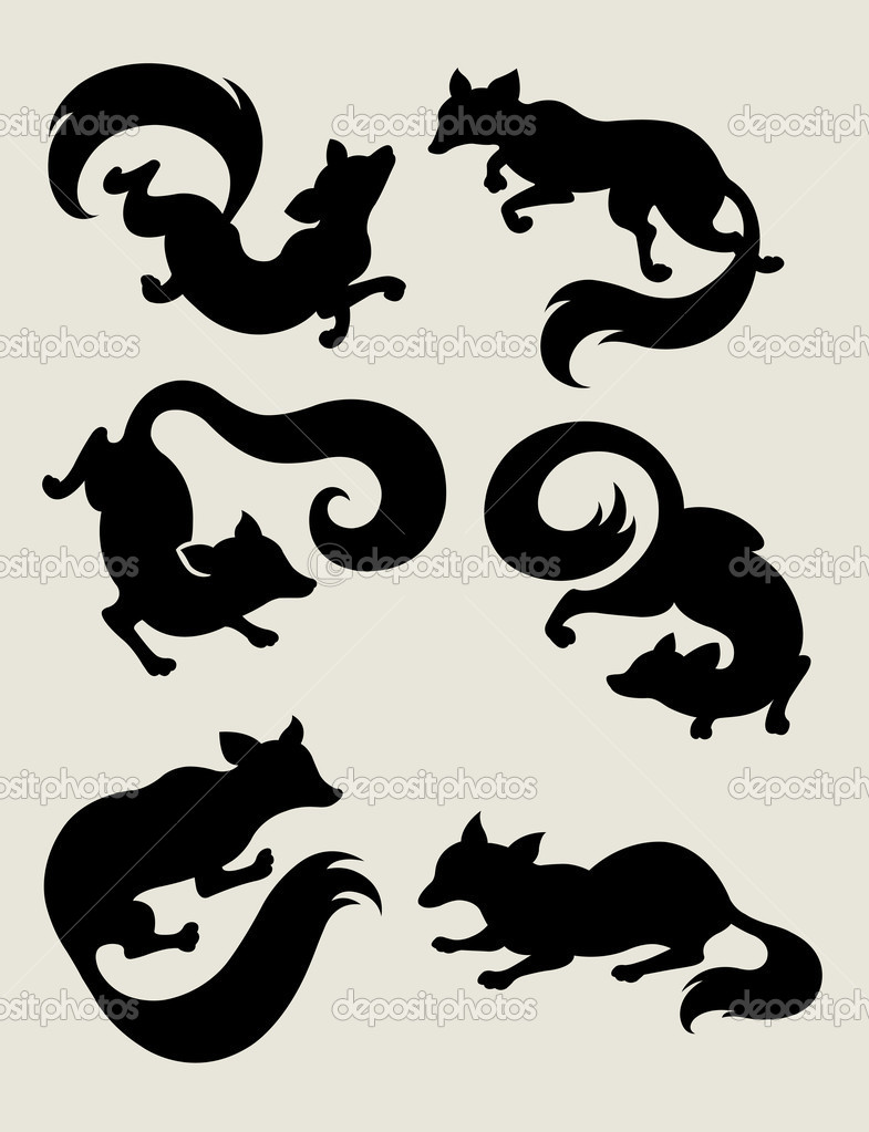 Fox Silhouette Symbols