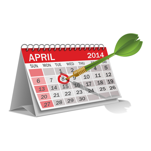 17 Table Calendar 2014 Vector Images