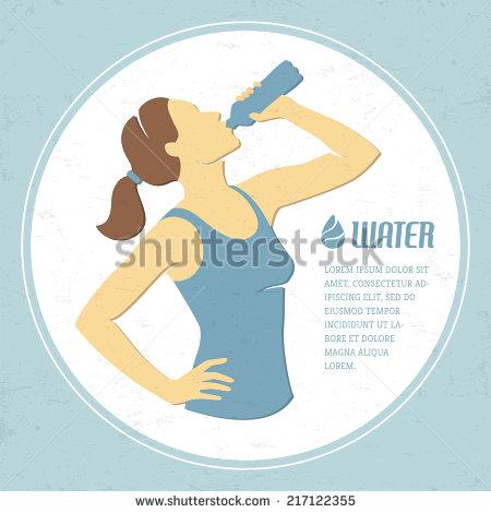Girl Drinking Water Clip Art